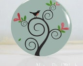 No. 002m - Bird in Swirly Tree Pocket Mirror