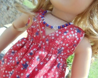 18 inch Doll Clothes - Red, Blue, and Silver Star Dress - USA Pride - fits American Girl