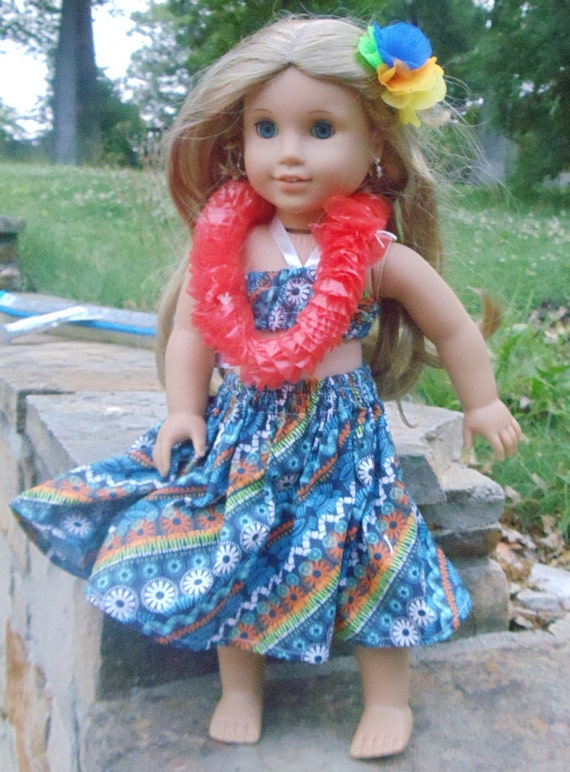 Blue Hawaii - Hawaiian Hula Outfit - fits American Girl Doll