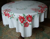Vintage Christmas Tablecloth Printed Red and Green, 1950s