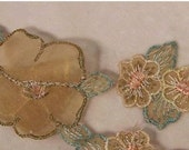 Vintage Early 1900's Silk Organdy Hand Embroidered Floral Trim