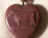 SALE Valentine's Early RARE Heart Watch Fob or Pendant of Hardstone with Bull Motif- Free U.S. Shipping