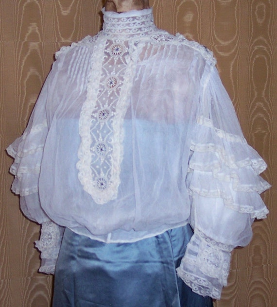 Now Reduced Victorian Gibson Girl Era Lace and Silk Blouse