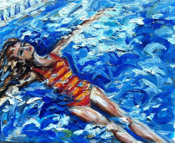 Swimmer in a Striped Orange and Coral Suit, original oil painting on gallery wrapped canvas