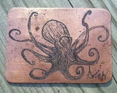 Etched Copper Octopus  ACEO