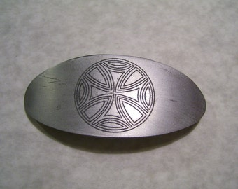 Large Etched Aluminum Celtic Barrette