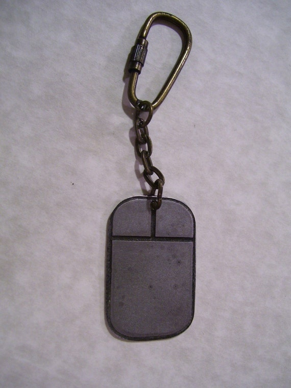 2 button mouse etched steel keychain