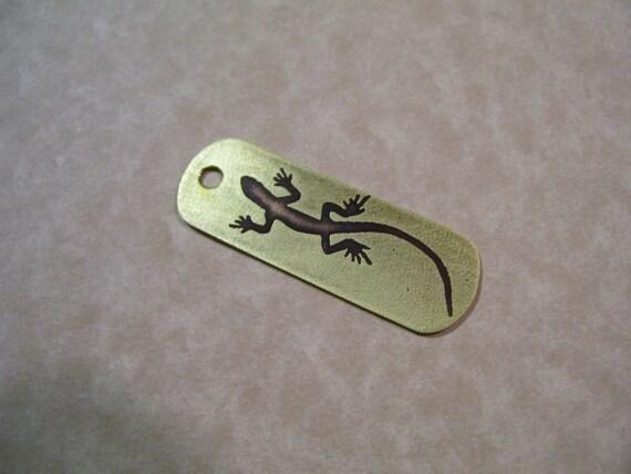 lizard etched brass keychain
