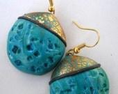 Polymer Clay dark Turqouise-Gold  Earings