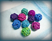 Brain beads, polymer clay, green,  purple. blue, red, dark fuchsia (BB-02)