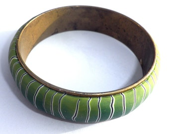 Green and stripes polymer clay Bangle