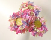 3 Pastel Fluffy Flowers a handmade fabric flower bouquet