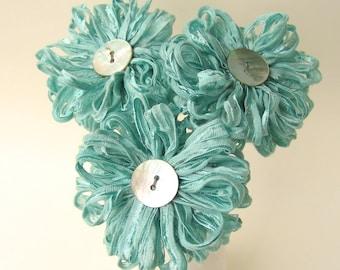3 Seafoam Ribbon Flowers, handmade fabric bouquet, centerpiece, hostess gift
