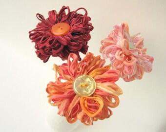 Choose 3 Flowers, custom fabric flower bouquet