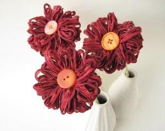 3 Dark Red Ribbon Flowers, centerpiece, home decor
