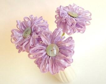 3 Lilac Ribbon Flowers a handmade fabric flower bouquet