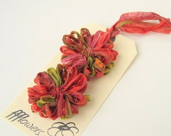 Flower Appliques in Indian Summer Ribbon, 2 inch