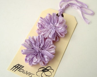 Flower Appliques in Lilac Ribbon