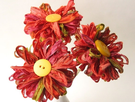 3 Ribbon Flowers Indian Summer, handmade fabric bouquet, table decor, centerpiece