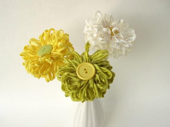 3 Handmade Fabric Flowers Custom Bouquet
