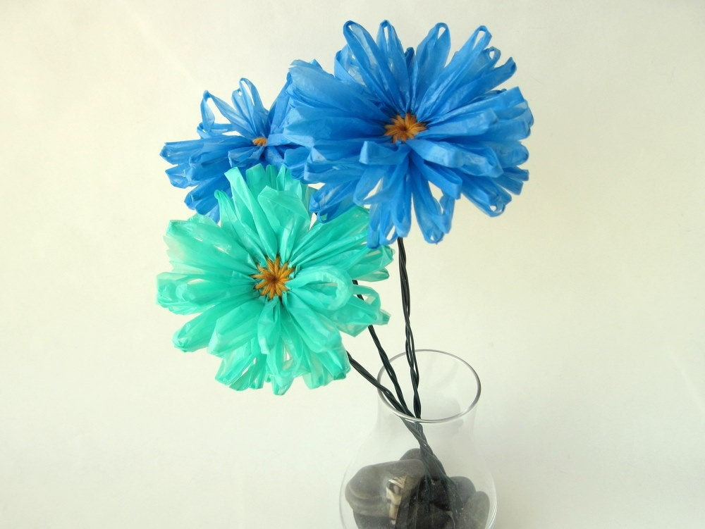 Half Price 3 Upcycled Plastic Bag Flowers Blue Eco Daisies