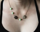 Chloe necklace - mint lucite and wood