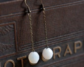 Snowdrop faceted white glass earrings