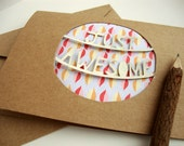 Just Awesome Card - Paper Cut Leaves Greeting