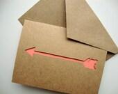 Arrow Card Papercut Tangerine - Greeting