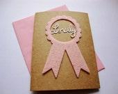 Lovely Award Card - Paper Cut Ribbon Greeting
