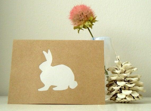 Bunny Rabbit Note Card Papercut Greeting