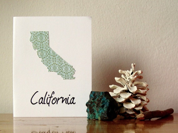 Papercut California State Geography Note Card Special Edition