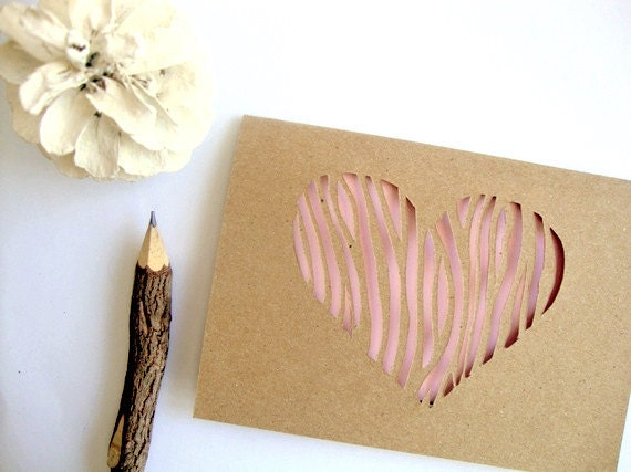 Love Card For Her - Mother's Day Card - Pink Heart Love Card - Paper Anniversary Card - Woodgrain Paper Cut Out Card - Rose Quartz Pink