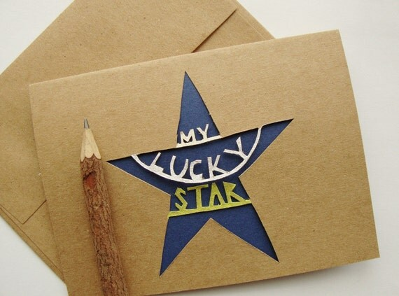 My Lucky Star Greeting - Painted Paper Cut Card