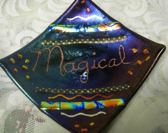 Fused Glass Plate - Black and Rainbow Dichroic - Magical