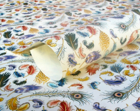 3 Sheets of  Feathers- Italian Decorative Paper - 20 x 28