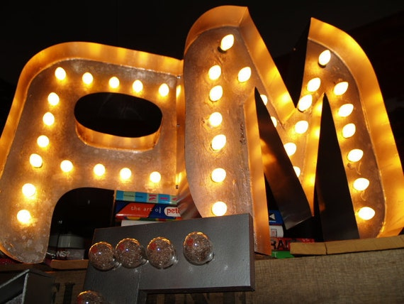 Items similar to movie marquee letter distressed light up for Movie marquee letters