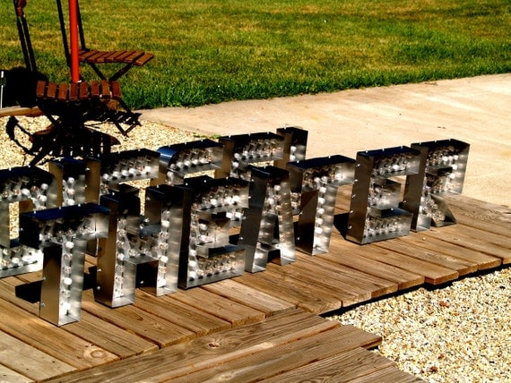 Movie THEATER Marquee Letter Light Channel Any Letter Metal Vintage Sign Industrialprice is per letter
