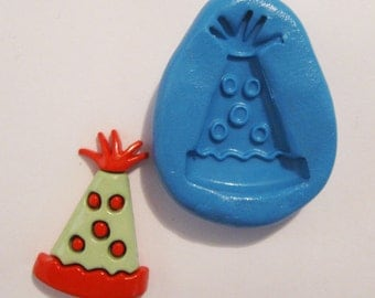 party hat Flexible Silicone Push Mold for Polymer clay, Resin,Wax,Miniature Food,Sweets,plaster