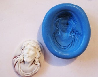 RELIGIOUS JESUS cameo Flexible Silicone Push Mold for Polymer clay, Resin,Wax,Miniature Food,Sweets and more..