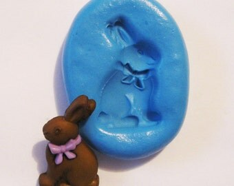 EASTER BUNNY  Flexible Silicone Push Mold for Polymer clay, Resin,Wax,Miniature Food,Sweets,plaster