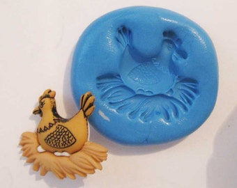 chicken Flexible Silicone Push Mold for Polymer clay, Resin,Wax,Miniature Food,Sweets and more..