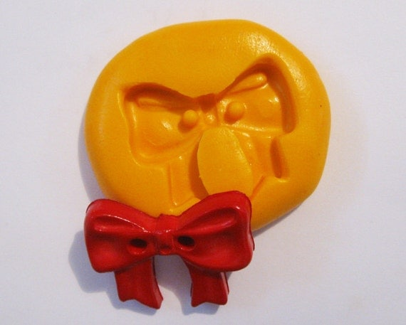 bow button Flexible Silicone Push Mold for Polymer clay, Resin,Wax,Miniature Food,Sweets,plaster
