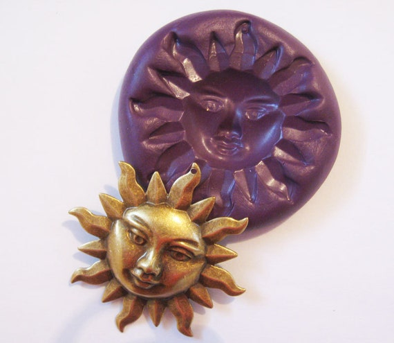 Sun face Flexible Silicone Push Mold for Polymer clay, Resin,Wax,Miniature Food,Sweets,plaster