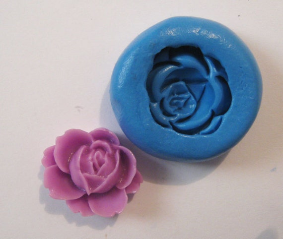 Flower rose Flexible Silicone Push Mold for Polymer clay, Resin,Wax,Miniature Food,Sweets,plaster