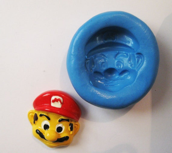SUPER MARIO  Flexible Silicone Push Mold for Polymer clay, Resin,Wax,Miniature Food,Sweets,plaster
