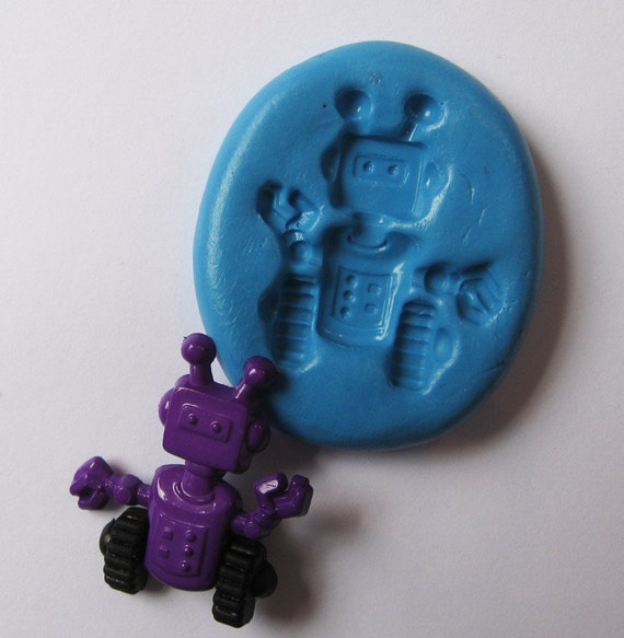 robot Flexible Silicone Push Mold for Polymer clay, Resin,Wax,Miniature Food,Sweets and more..