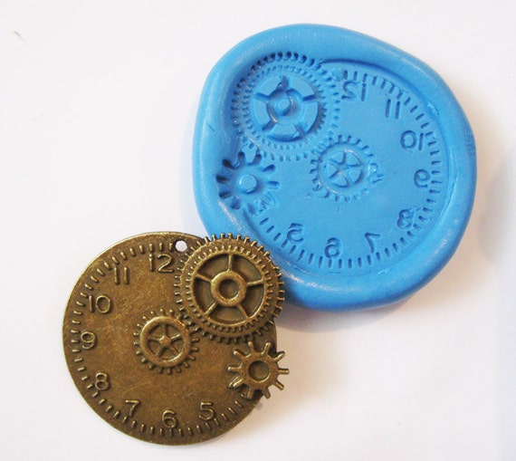 Steampunk Clock Flexible Silicone Push Mold for Polymer clay, Resin,Wax,Miniature Food,Sweets, plaster