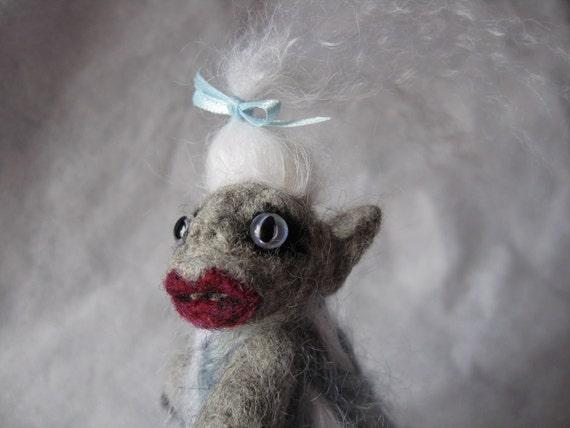 Wee Beastie - Bettina the Yeti - Needle Felted Pocket Monster