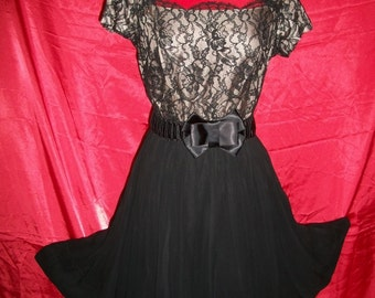 Vintage 50s Black Lace and Silky  Dress